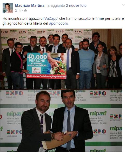 VàZapp: il Ministro Martina sposa la petizione sulla filiera del pomodoro
