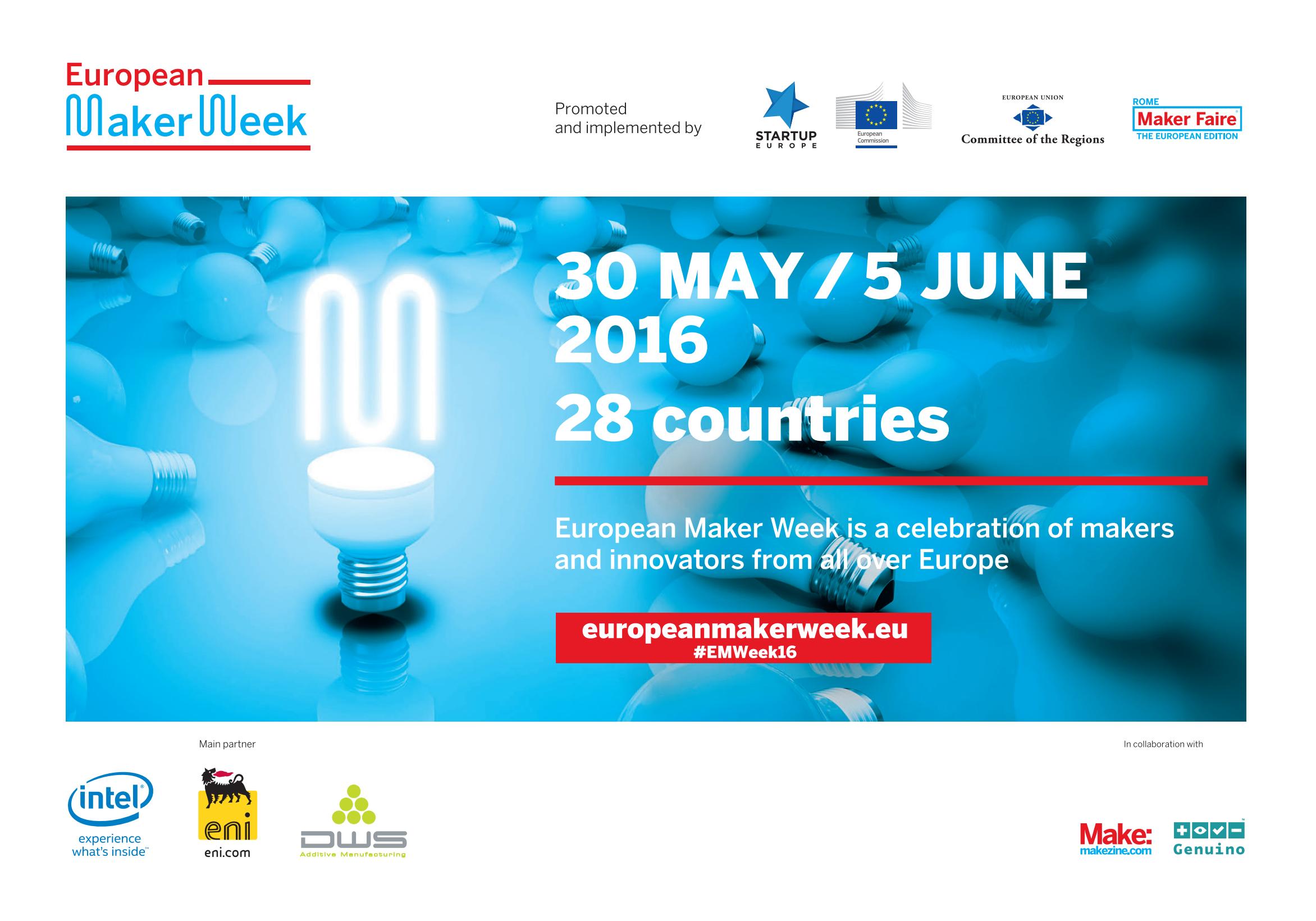 #EMWeek16 European Maker Week: tutti gli eventi organizzati in Italia